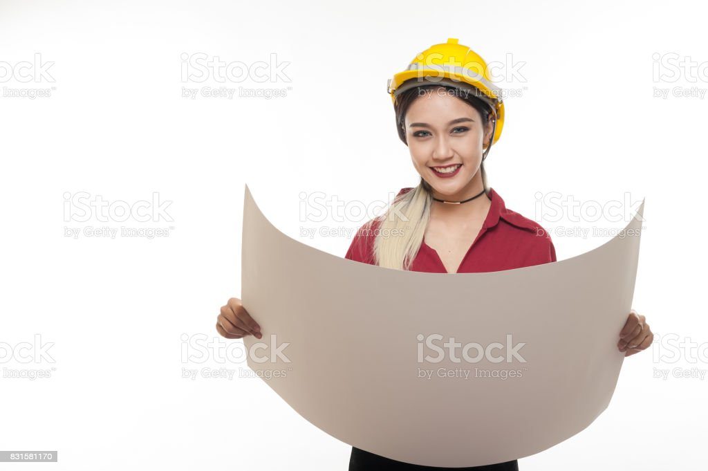 Asian woman with yellow safety helmet stock photo