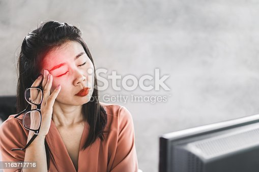 1049512672istockphoto Asian woman worker suffering from eye pain working on computer screen 1163717716