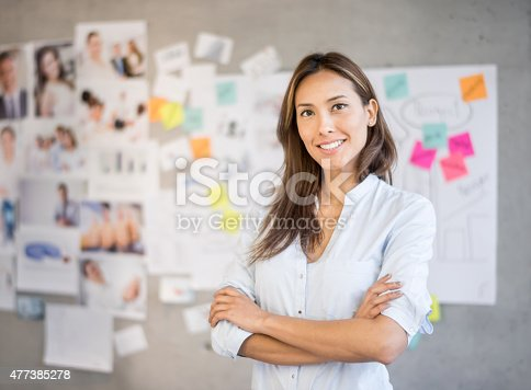 istock Asian woman working at a creative office 477385278