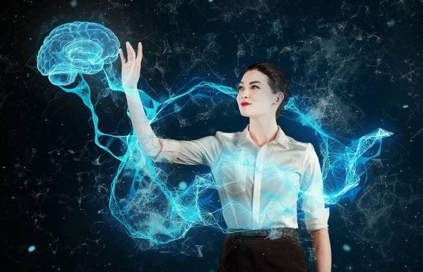 asian woman working with virtual reality. medical research - hologram stock photos and pictures