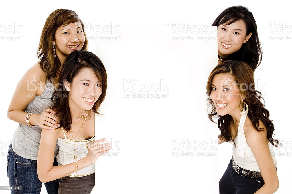Asian Women and Blank Space royalty-free stock photo