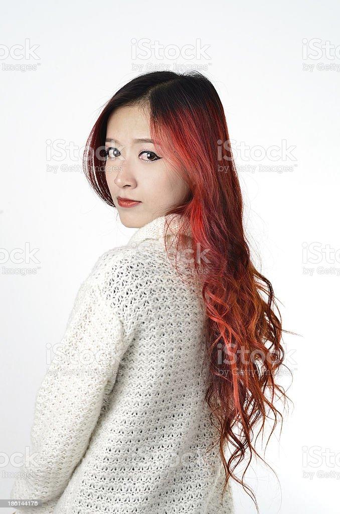 Asian Women Red Long Hair In Modern Fashion Stock Photo More