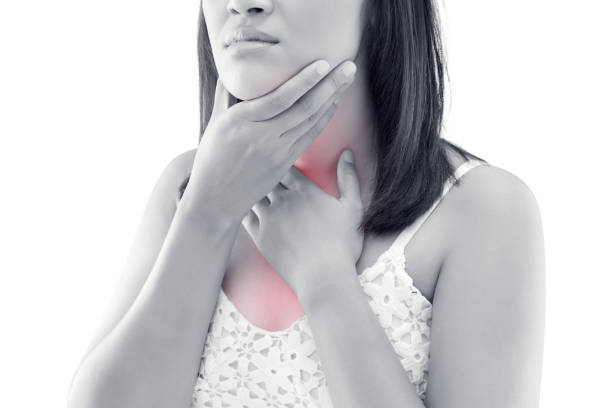 asian women thyroid gland control. sore throat of a people isolated on white background.. people body problem concept - adenovirus foto e immagini stock