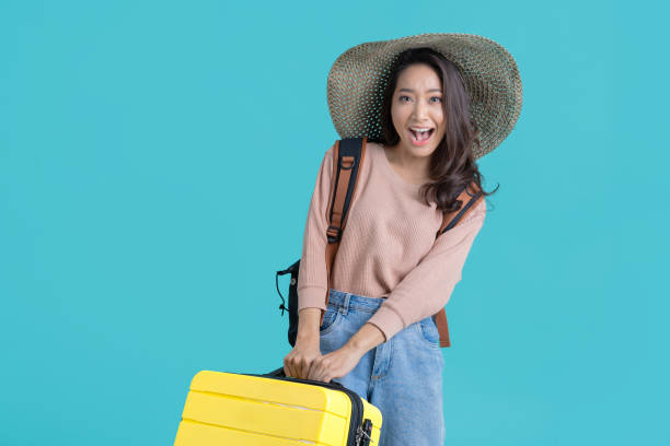 Asian women tourists she is excited to travel. stock photo