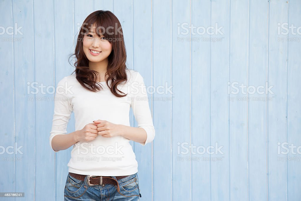Asian women with blue background stock photo