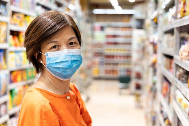 Asiatische Frauen mit Gesichtsmaske zum Schutz vor Grippevirus-Shopping – Foto