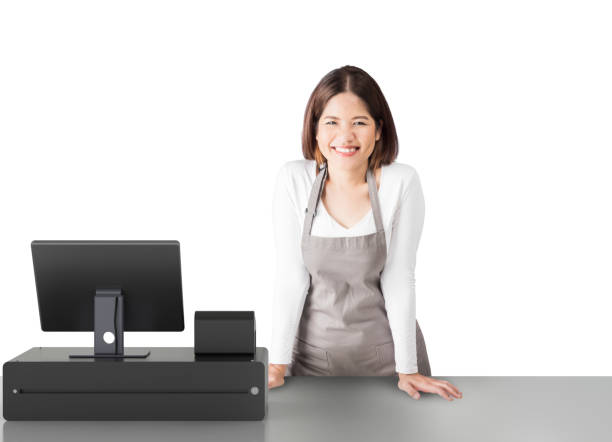 asian worker with cashier desk asian worker with 3d rendering cashier desk on white background cash register stock pictures, royalty-free photos & images
