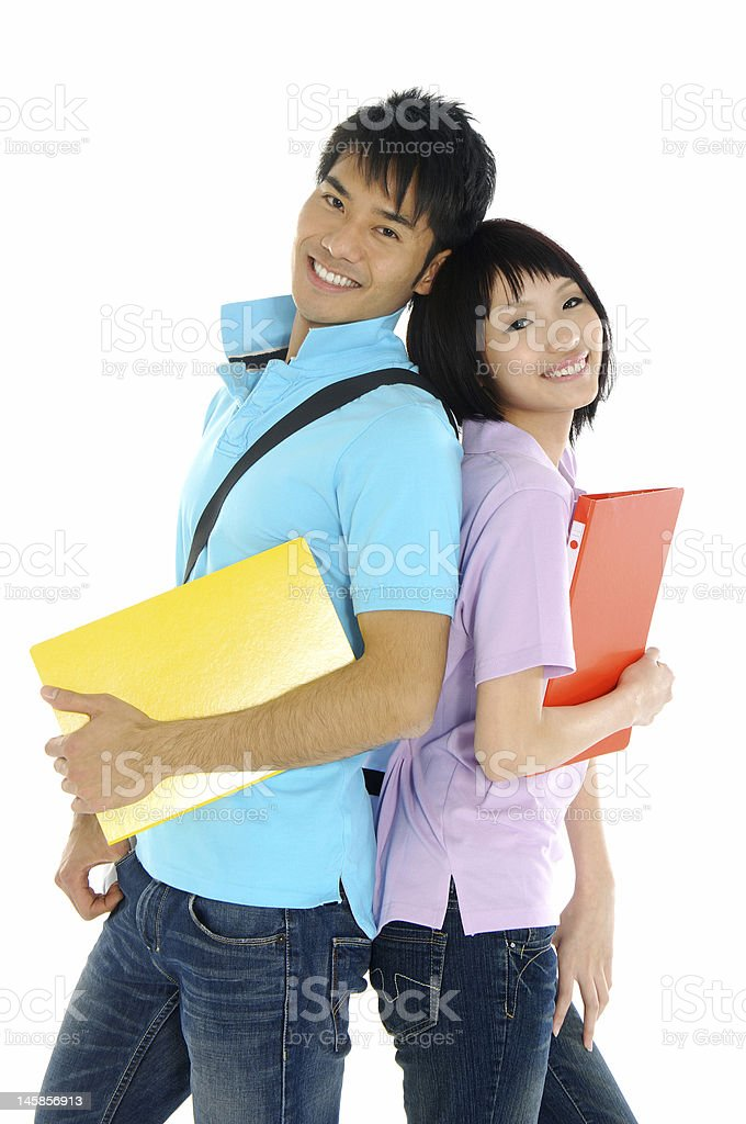 Asian young man and girl royalty-free stock photo