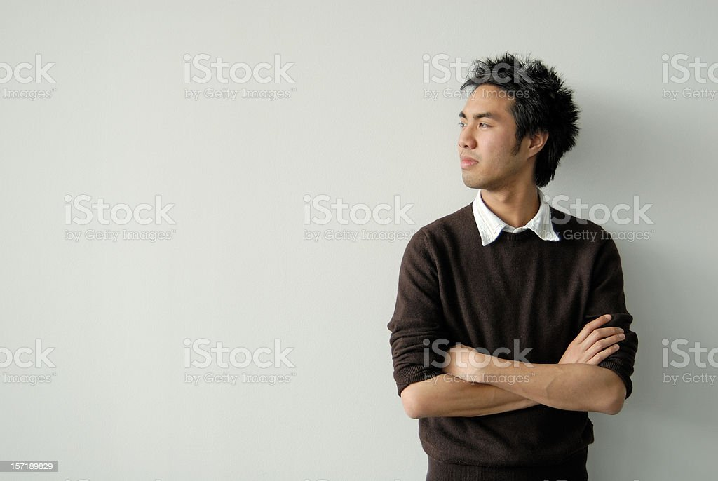 asian young man profile stock photo