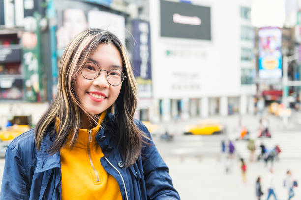 Asian young woman portrait in Ximen Taipei stock photo