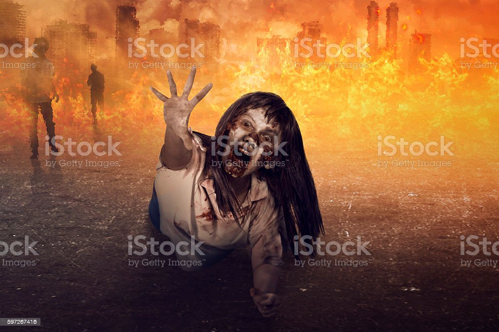 Asian zombie woman is anger royalty-free stock photo
