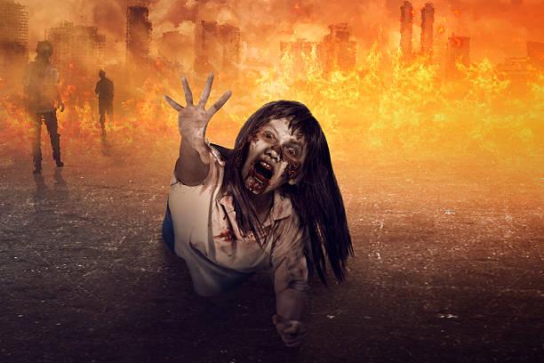 asian zombie woman is anger - brüllender tod stock-fotos und bilder
