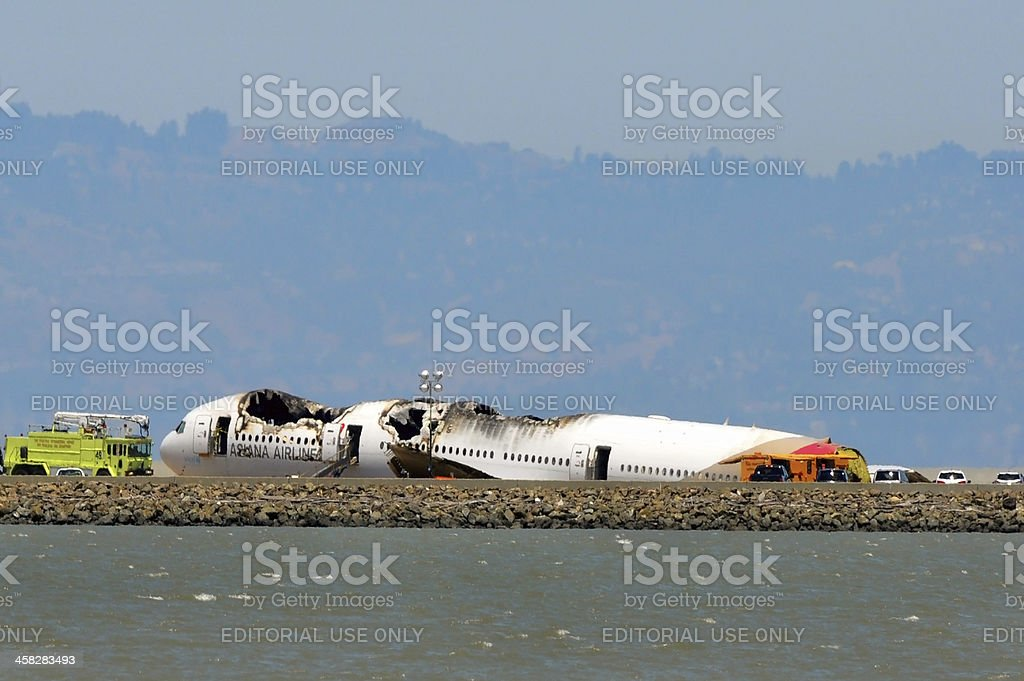 Asiana Airlines Flight 214 Crash Landing San Francisco Airport stock photo