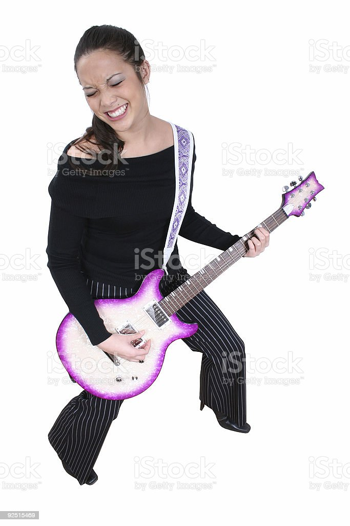 Asian-American Woman With  Electric Guitar stock photo