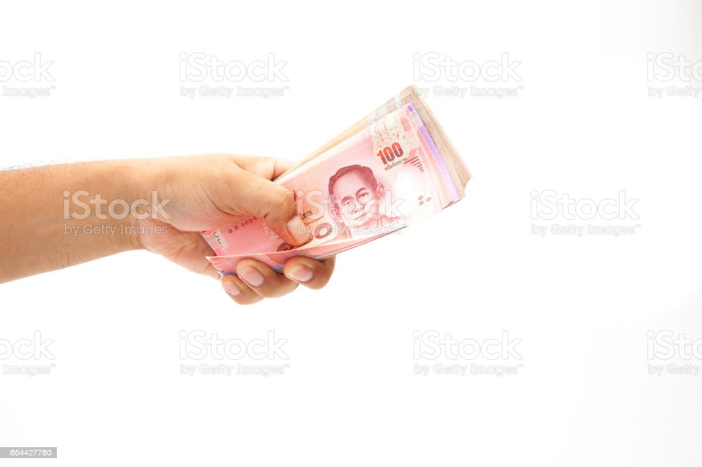 Asian'man Hand holding thailnad banknote on white background isolated stock photo