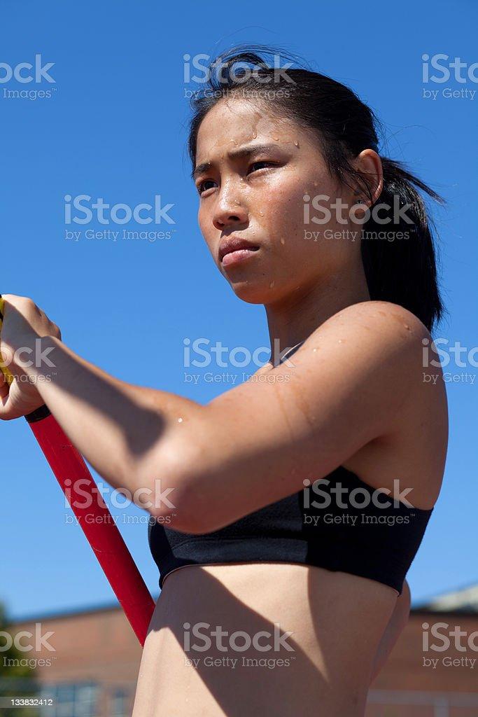 Asian-Pole-Vaulter royalty-free stock photo