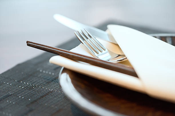 asian-western fusion cuisine place setting - generic location stock pictures, royalty-free photos & images