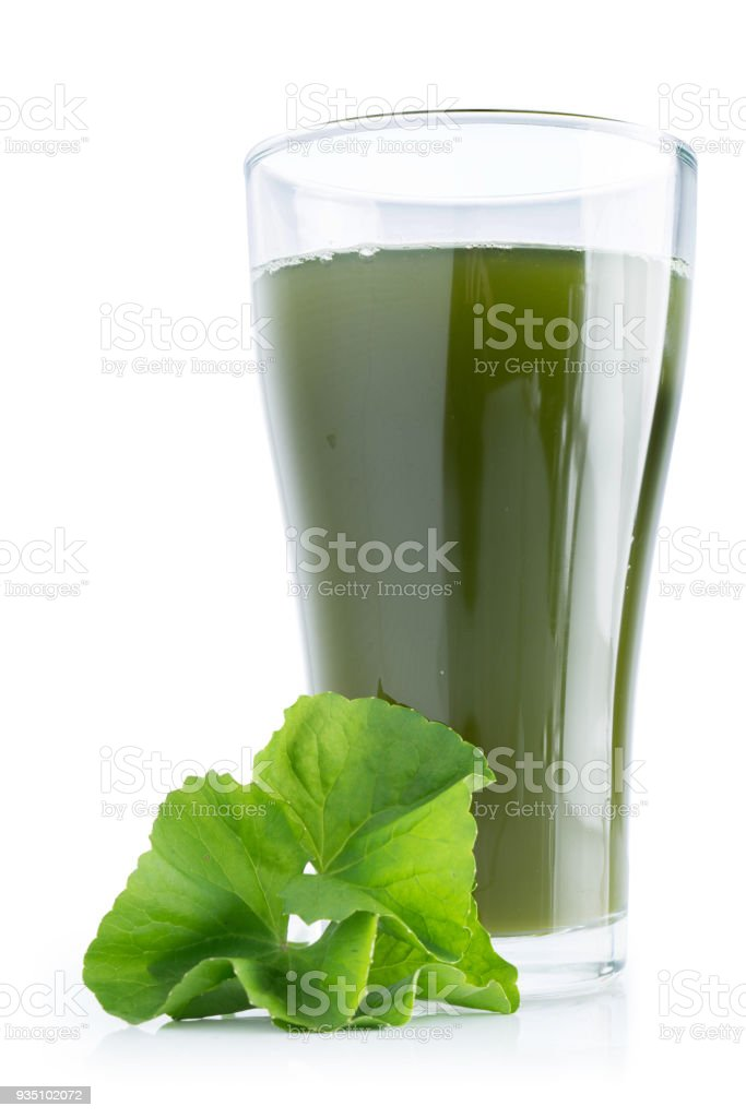 asiatic leaf juice isolated on white background stock photo