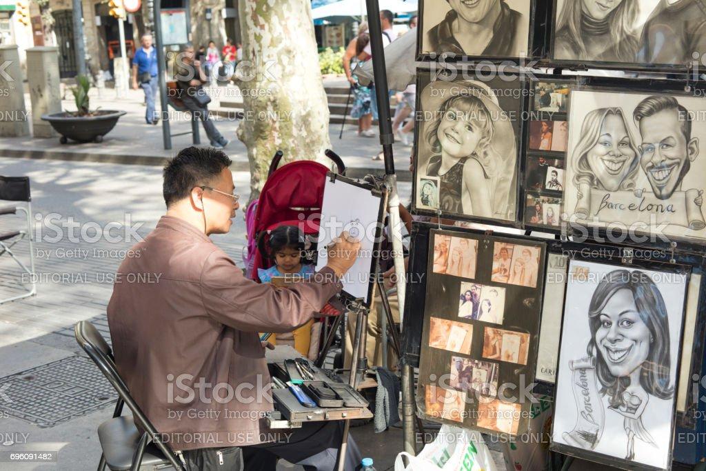 Asiatischen Straße Künstler Malen Und Zeichnen Von Karikaturen Und ...