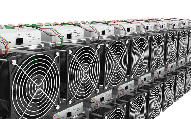 Modelo 3D de ASIC Cryptocurrency minera Hardware granja - foto de stock