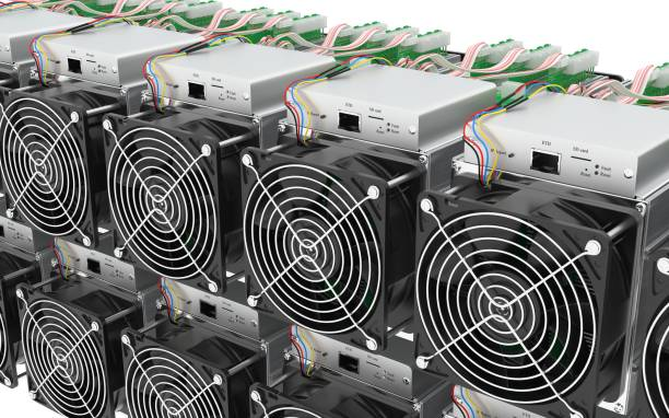 Asic Cryptocurrency Mining Hardware Farm 3D model stock photo