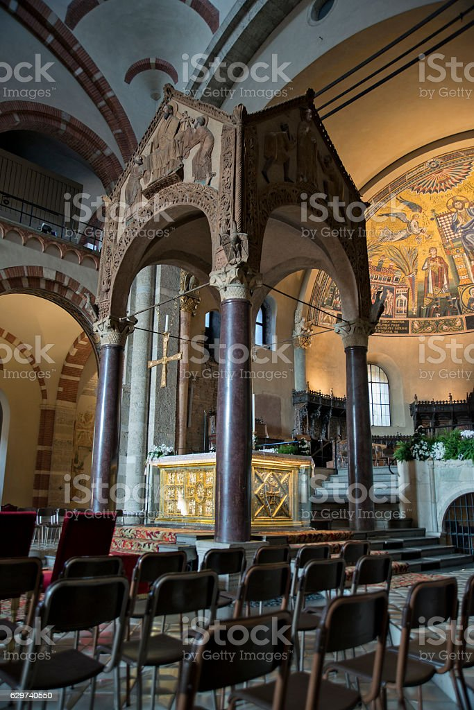 asilica of Sant Ambrogio, golden altar and ciborium stock photo