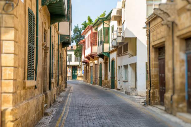 Asim efendi street, narrow historic street in central Nicosia stock photo