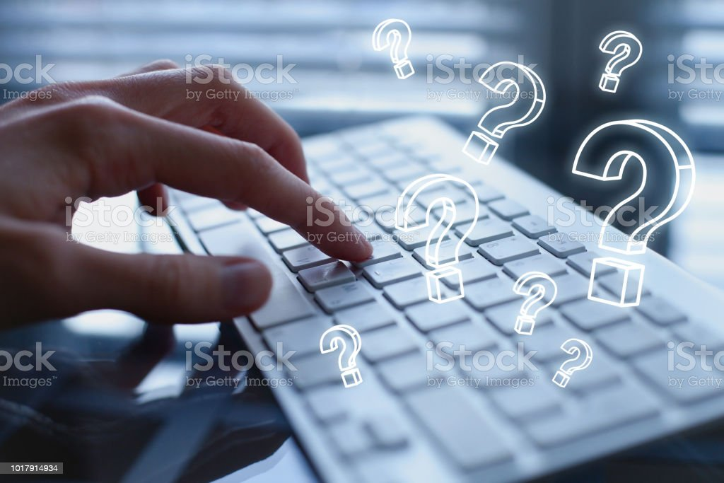 ask quiestion online, FAQ concept, what where when how and why stock photo