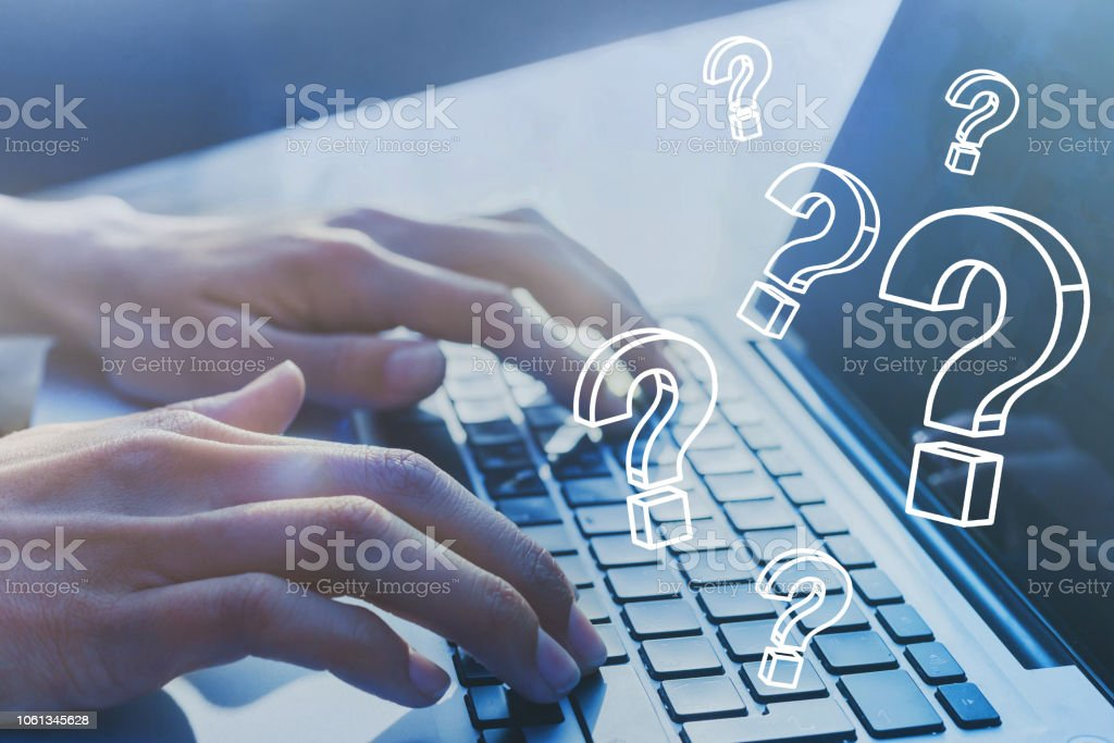 FAQ, ask quiestion online, what where when how and why, search information. stock photo