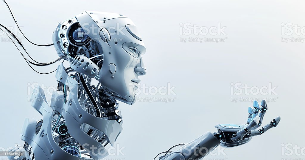 Asking cyborg stock photo