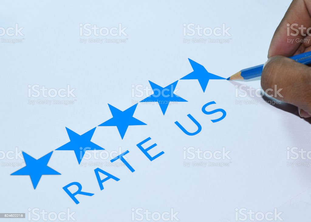 Asking for 5 star ratings from customer stock photo