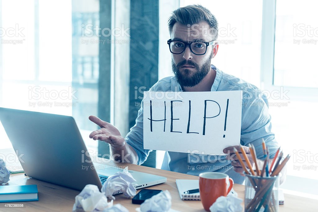 Asking for help. stock photo