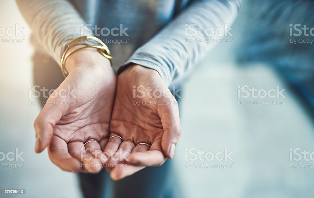 Asking for some aid stock photo