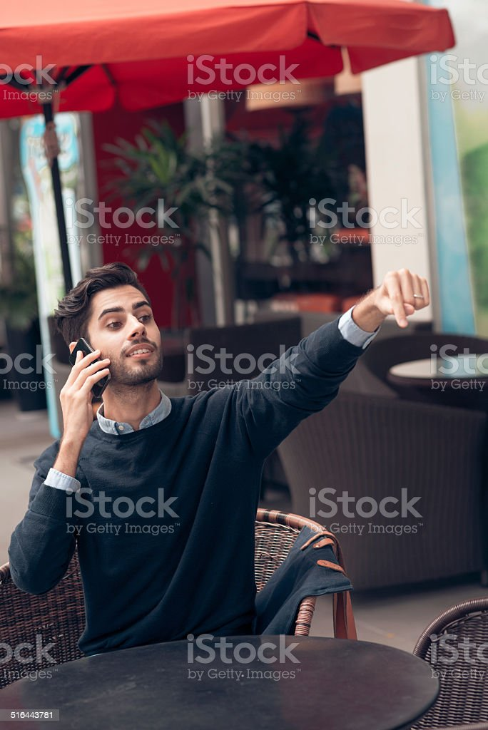 Asking for waiter stock photo