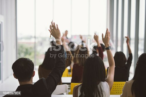 istock asking in seminar class room at Conference 1046397924