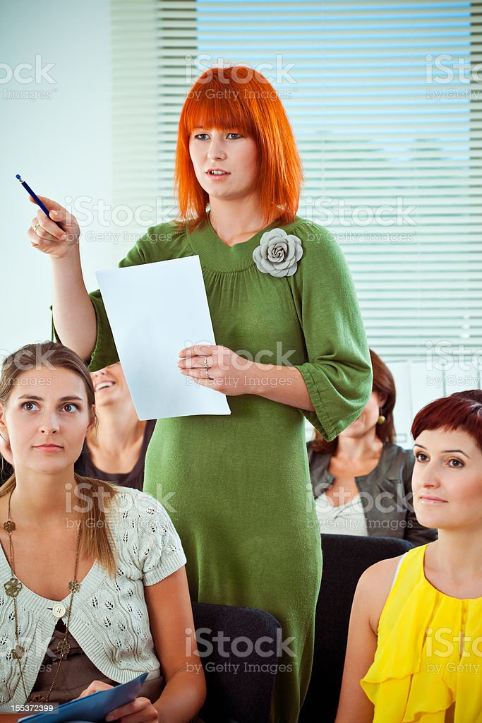 Asking question on conference royalty-free stock photo