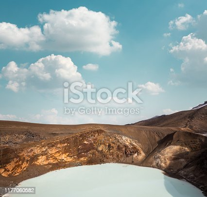 View from above on Viti, geothermal crater lake, in Askja Caldera in Iceland.