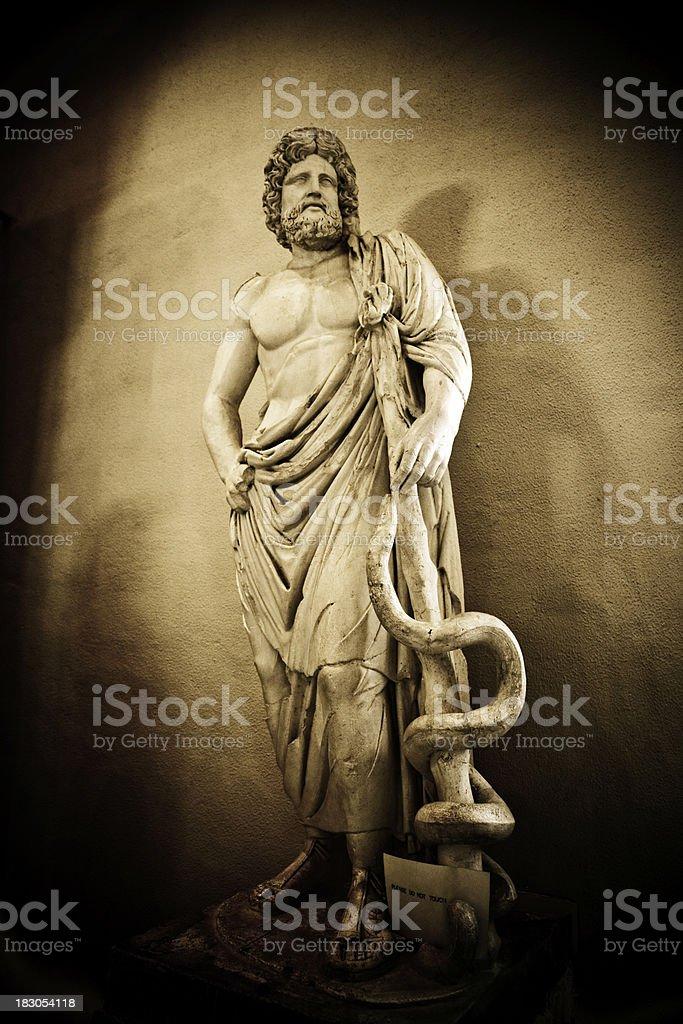 Asklepios marble statue at Epidaurus royalty-free stock photo