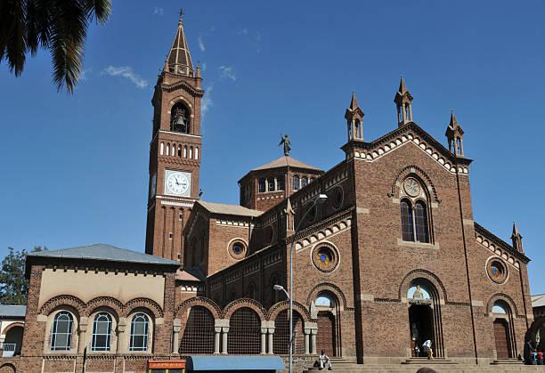 asmara, eritrea, catholic cathedral - eritrea stock photos and pictures