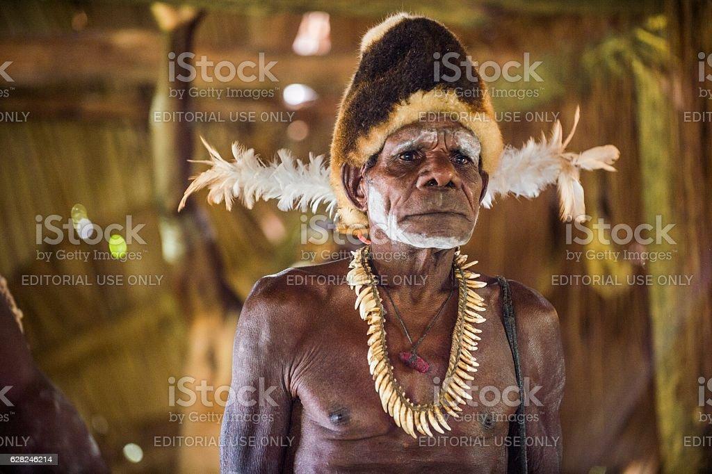 Asmat warrior stock photo