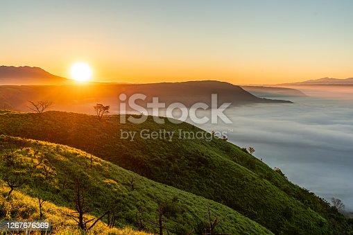 aso mountain, sunrise over the mountain, aso, kumamoto, japan