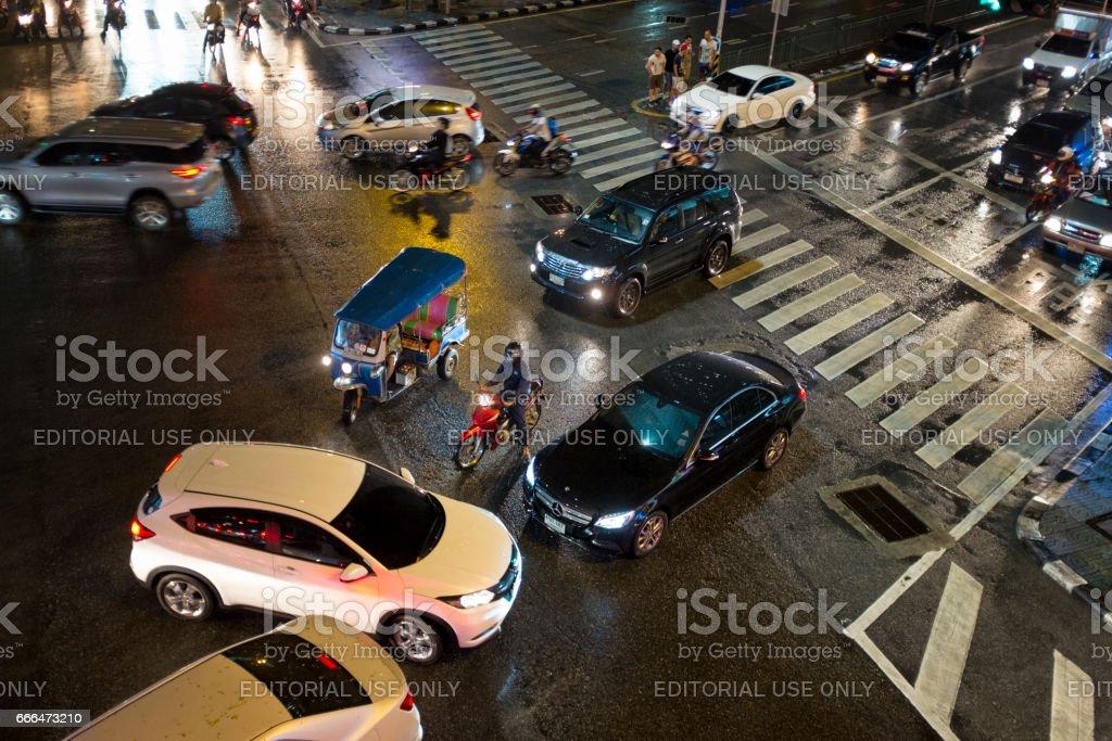 Asok Sukhumvit Junction At Night In Bangkok, Thailand stock photo