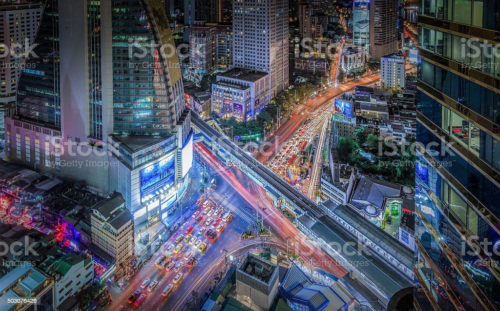 Asoke, Bangkok, with great light trails, traffic at night stock photo