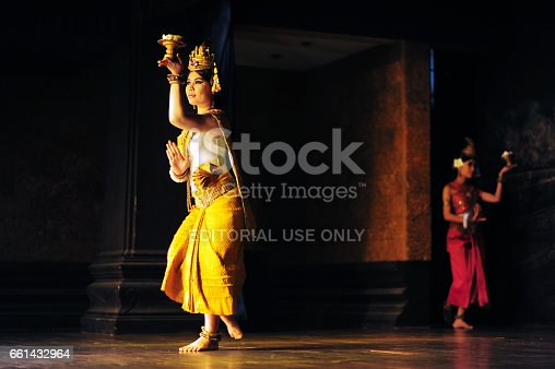 Siem Reap,Cambodia - Aug 2,2013:A group of Aspara Dancers were performing at a public perform in Siem Reap,Cambodia.