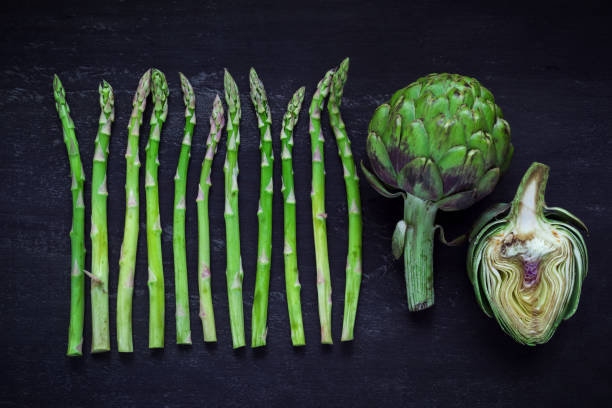 Asparagus and artichoke, top view stock photo