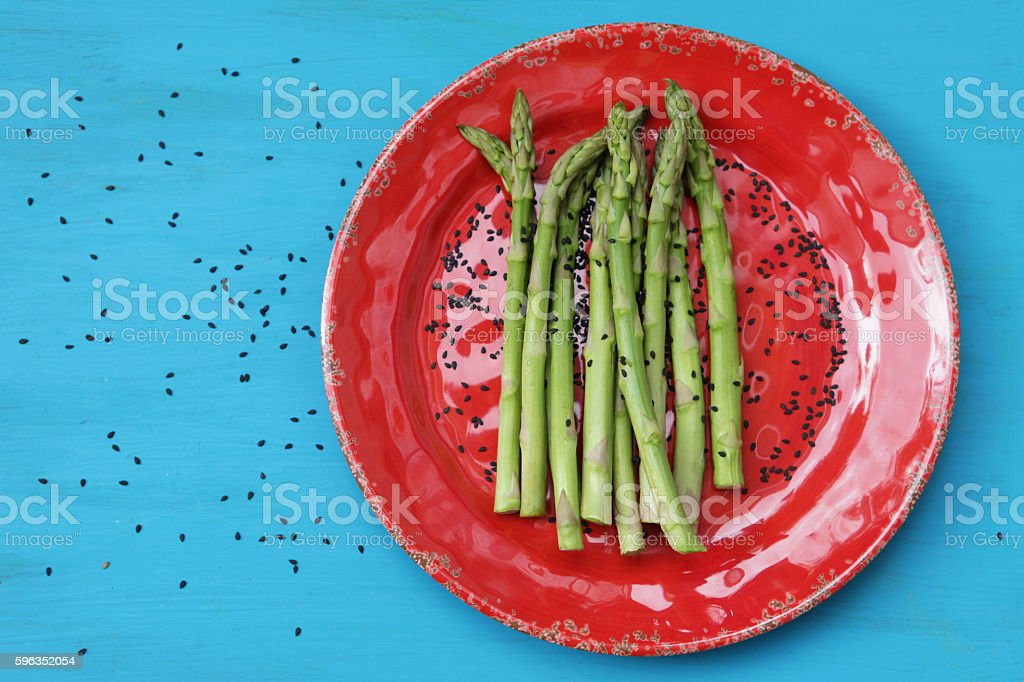 Asparagus and black sesame royalty-free stock photo