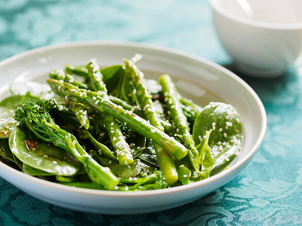 asparagus and broccoli salad - asparagus stock pictures, royalty-free photos & images