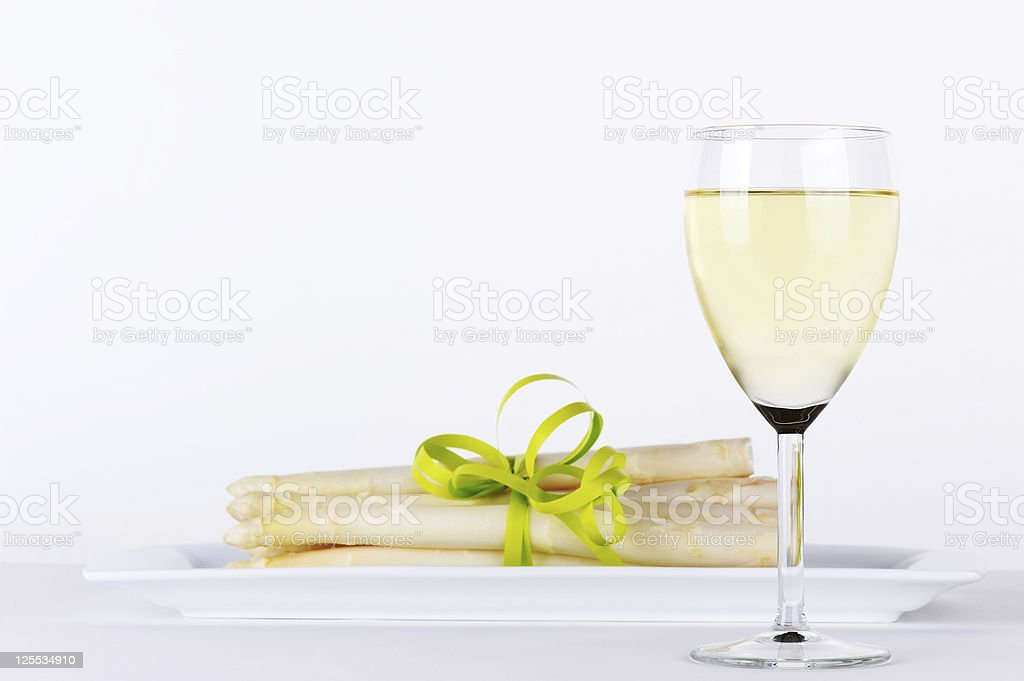 Asparagus and White Wine - Royalty-free Alcohol Stock Photo