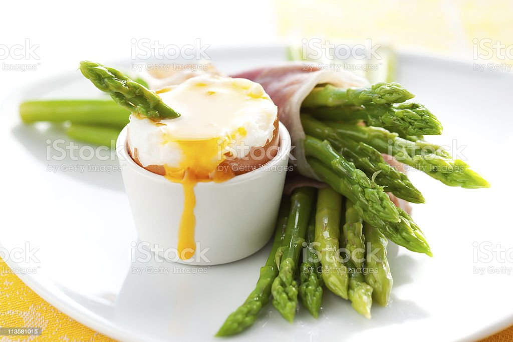 Asparagus ,egg and  ham royalty-free stock photo