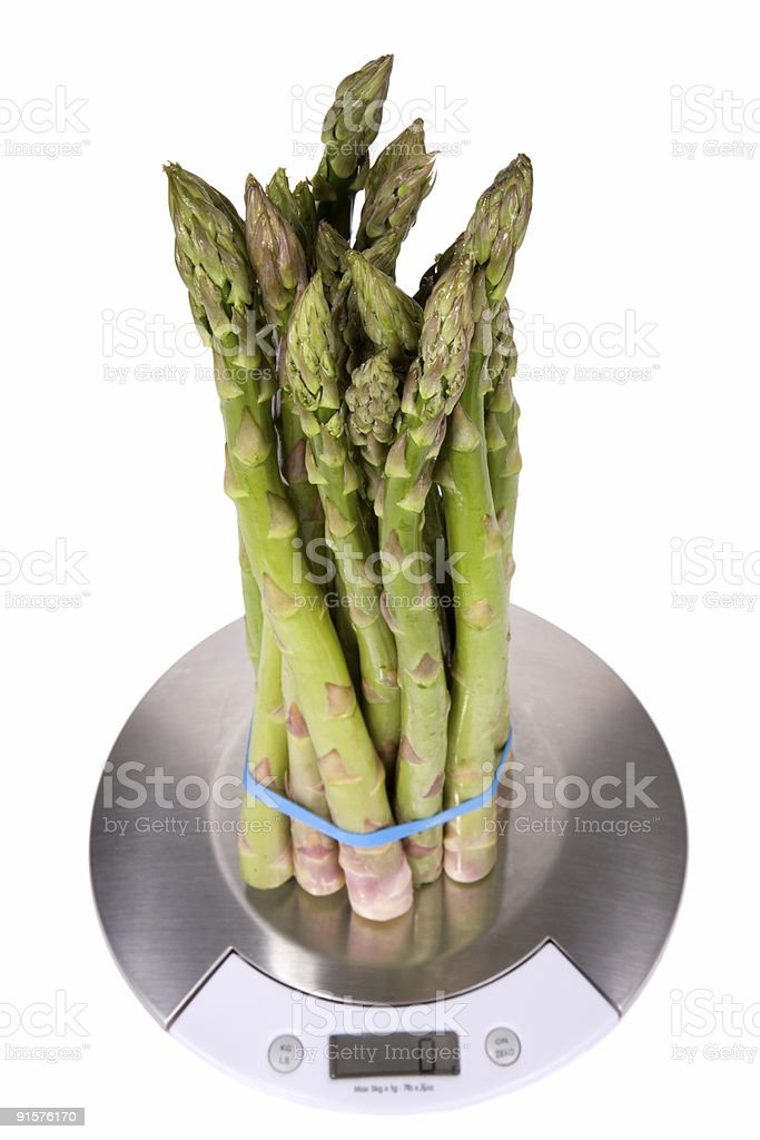 Asparagus on Kitchen Scale 2 royalty-free stock photo